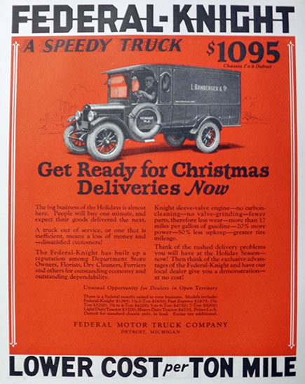 1925 Federal Knight Truck Ad ~ Bamberger's, Newark, NJ