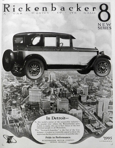 1925 Rickenbacker 8 Car Ad ~ Worthy Of Its Name