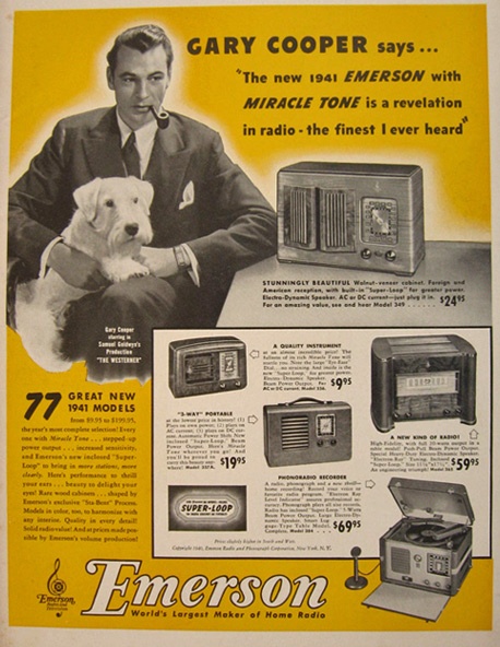 1940 Emerson Radio with Miracle Tone Ad ~ Gary Cooper