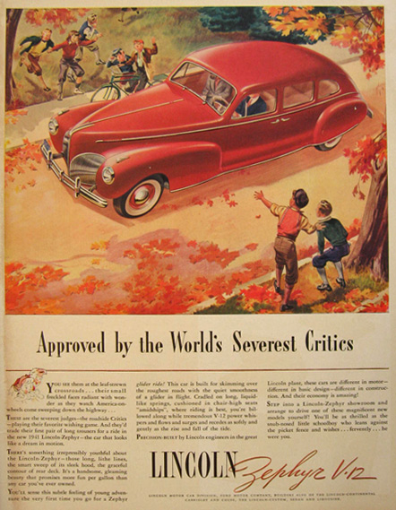 1940 Lincoln Zephyr Ad ~ Approved by Critics