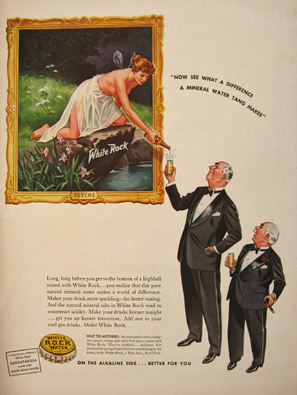 1941 White Rock Water Ad ~ Fairy Psyche Pours a Drink