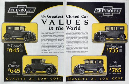 1926 Chevy Closed Cars Ad ~ Coach, Coupe, Landau, Sedan