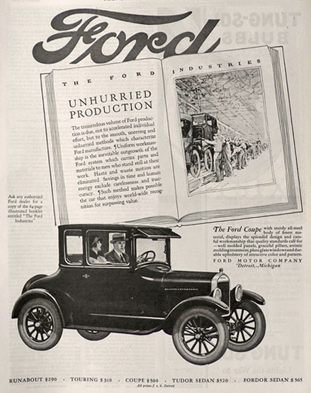 1926 Ford Coupe Ad ~ Unhurried Production