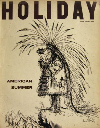 1959 Holiday Magazine Cover ~ Ronald Searle ~ Indian Takes Pics