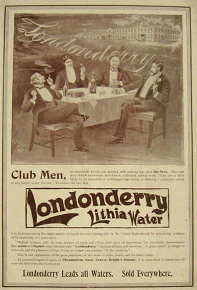 1897 Londonderry Lithia Water Ad ~ Club Men
