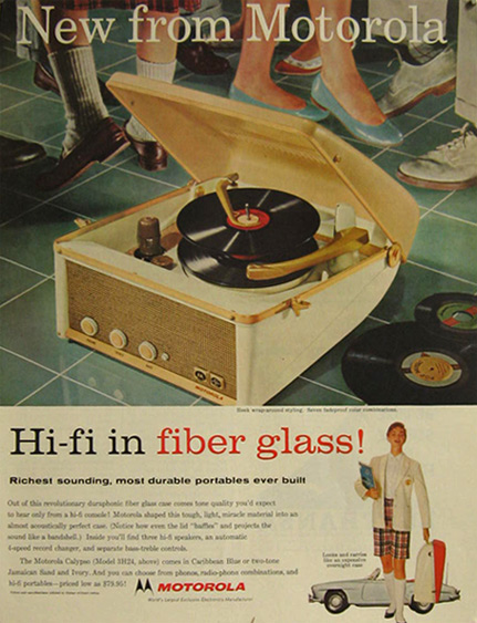 1957 Motorola Portable Fiberglass Hi-Fi Record Player Ad