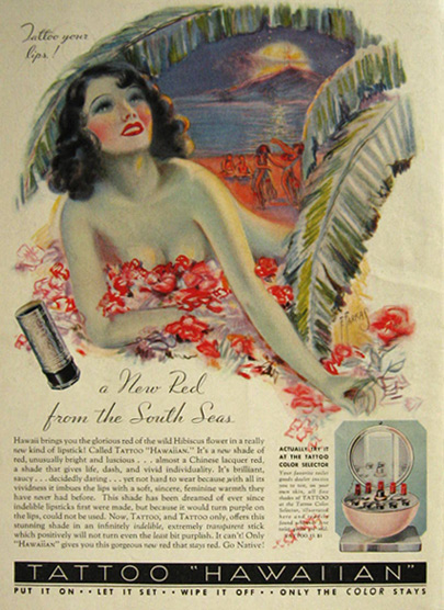 "Original vintage magazine ad for Tattoo Lipstick featuring ""Tattoo ..."