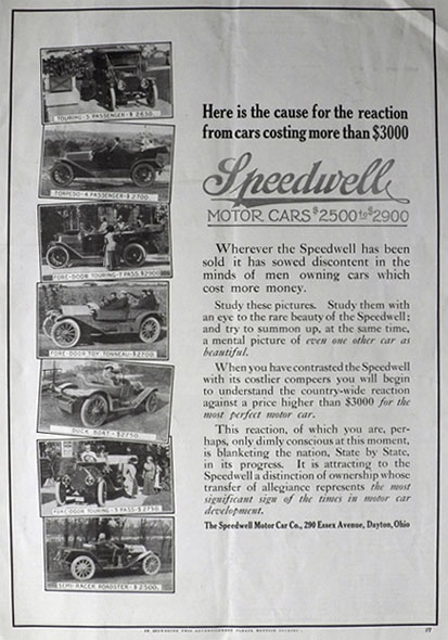 1911 Speedwell Car Ad ~ Photos of Old Cars