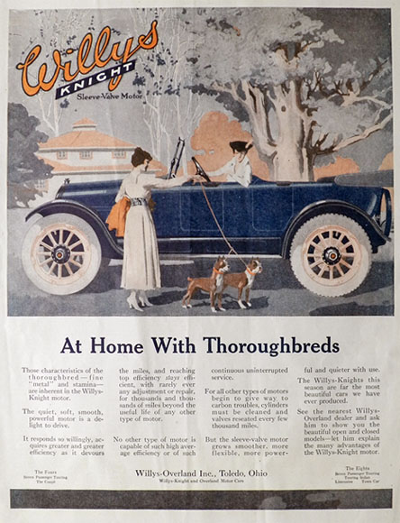 1917 Willys Knight Ad ~ Boston Terriers