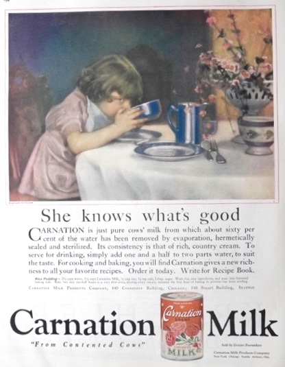 1923 Carnation Milk Ad ~ Child Drinks from Bowl