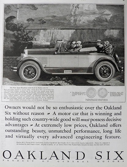 1926 Oakland Six Ad ~ Sport Roadster