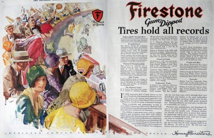 1928 Firestone Gum Dipped Tires Ad ~ Indy 500