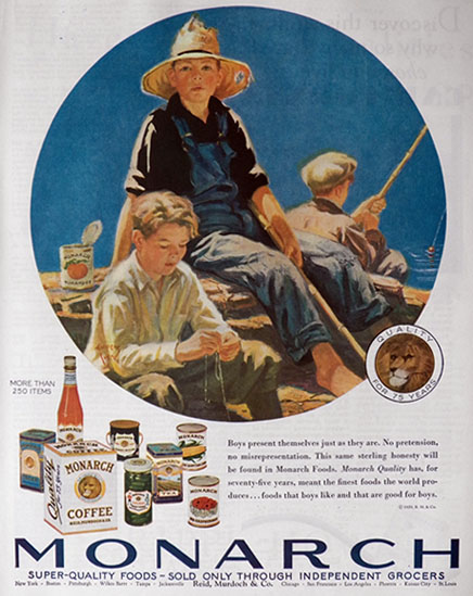 1929 Monarch Foods Ad ~ Eugene Iverd Boys FIshing