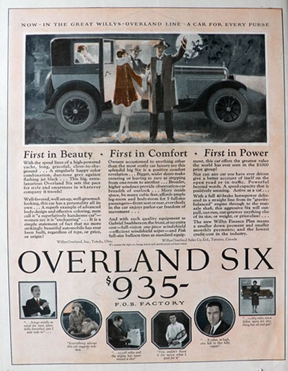 1926 Willys Overland Six Ad ~ First in Beauty