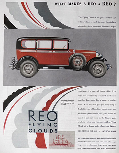 1929 Reo Flying Cloud Sport Sedan Ad