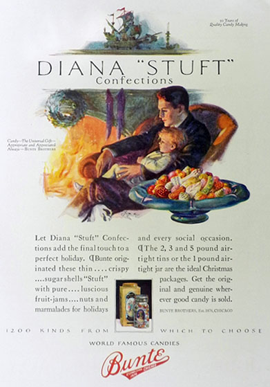 "1926 Bunte Brothers Candy Ad ~ Diana ""Stuft"" Confections"
