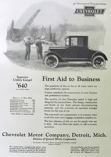1924 Chevy Utility Coupe Ad ~ First Aid to Business