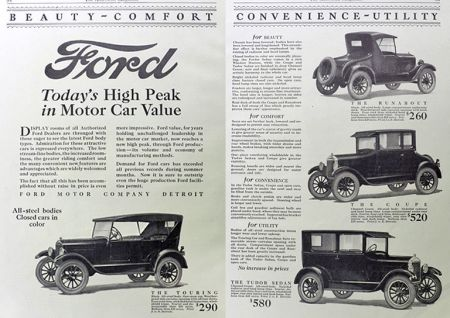 1925 Ford Two Page Car Ad ~ 4 Models