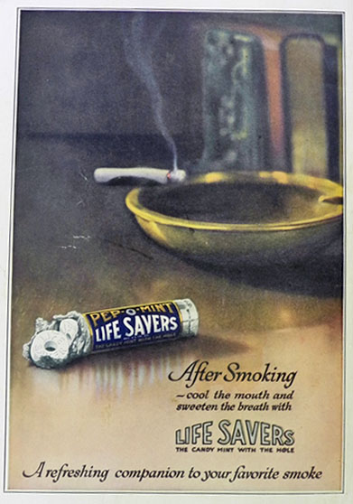 1923 Lifesavers Candy Ad ~ After Smoking
