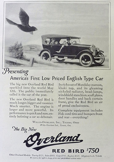 1923 Willys Overland Red Bird Ad ~ Low Priced English Type Car