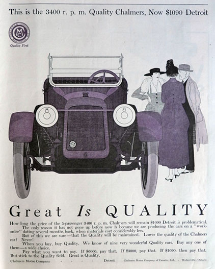 1916 Chalmers Motor Company Ad ~ 3400 RPM