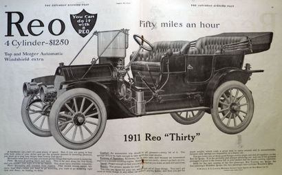 1911 Reo Thirty Car Automobile Ad ~ Fifty Miles An Hour