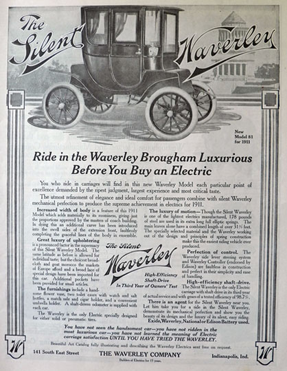 1911 Waverley Brougham Electric Car Ad ~ The Silent Waverley