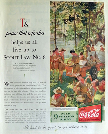 1931 Coca Cola Coke Ad ~ Boy Scout Troop 19 at Crystal Lake, Florida