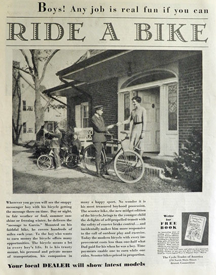 1931 Ride-A-Bike Ad ~ Western Union Delivery Boy Photo