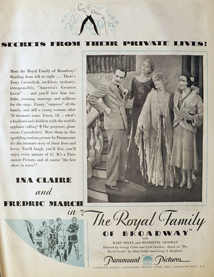 "1931 ""The Royal Family of Broadway"" Movie Ad ~ Ina Claire, Fredric March"