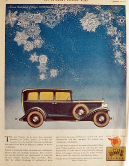 1931 Body by Fisher Pontiac Six Ad ~ Snowflakes