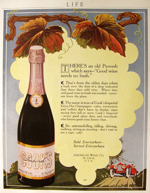 1916 Cooku0027s Imperial Champagne Ad