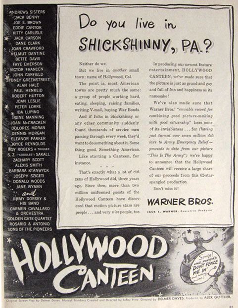 1945 Movie Ad ~ Hollywood Canteen ~ Shickshinny, PA