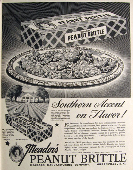 1946 Meador's Peanut Brittle Ad ~ Greenville, SC