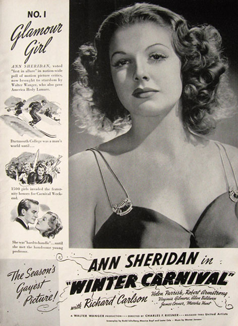 1939 Movie Ad ~ Winter Carnival ~ Ann Sheridan