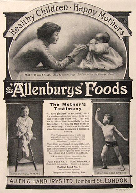 1911 Allenbury's Baby Food Advert ~ Boy with Muscles