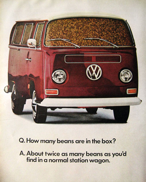 1968 VW Volkswagen Bus Ad ~ How Many Beans?