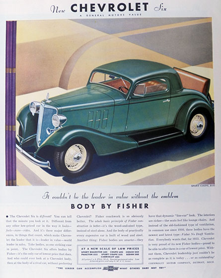 1933 Chevy Six Sport Coupe Ad ~ Body by Fisher