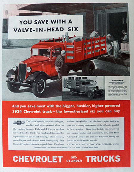 1934 Chevy Truck Ad ~ Valve-in-Head Six