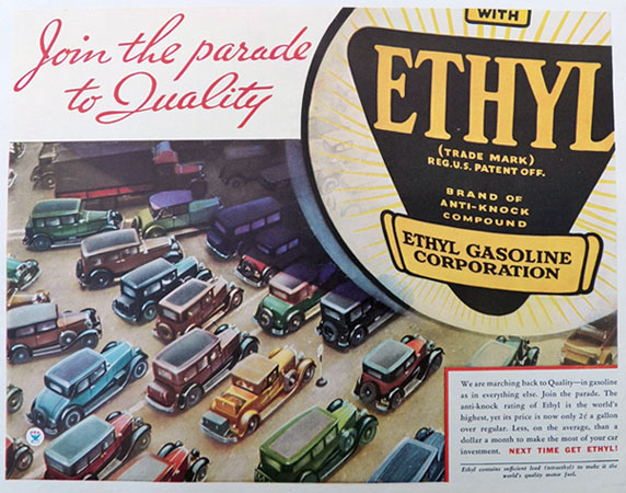 1934 Ethyl Gasoline Ad ~ Parade of Old Cars