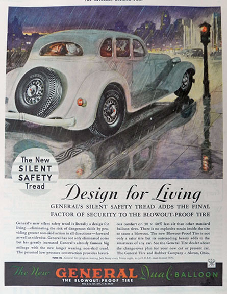 1934 General Balloon Tires Ad ~ Nice Art
