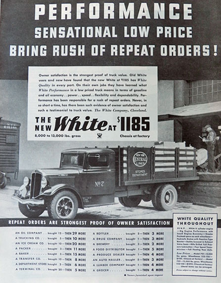 1934 White Trucks Photo Ad ~ New York Central Lines