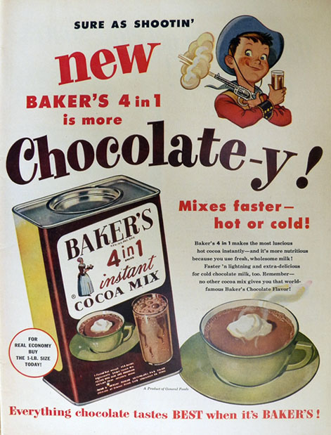 1952 Baker's Instant Cocoa Mix Ad ~ 4 in 1