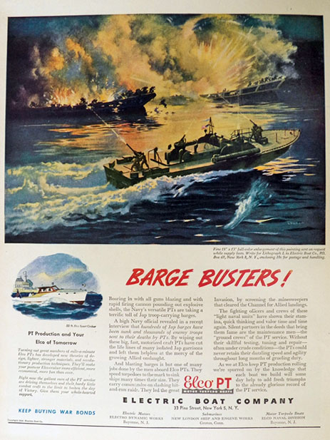 1944 Elco PT Boat Ad ~ Barge Busters