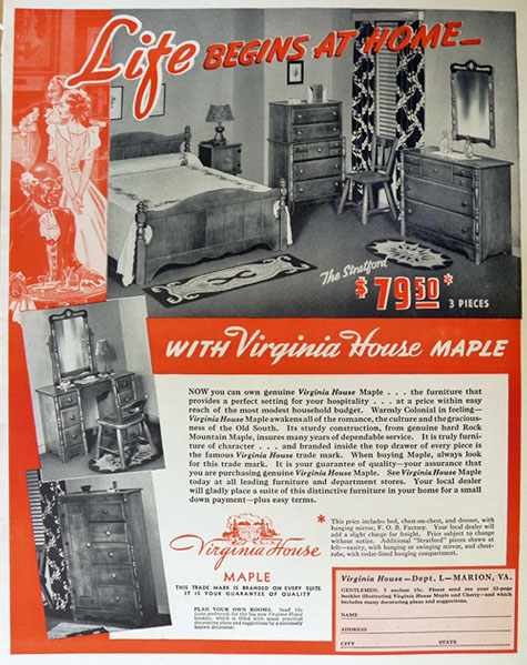 1940 Virginia House Maple Furniture Ad ~ The Stratford