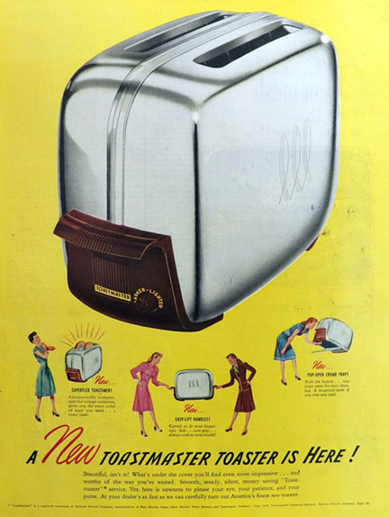 1947 Toastmaster Toaster Ad Easy Lift Handles Vintage Appliance Ads