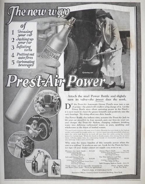 1924 Prest-Air Power Bottle for Autos Ad