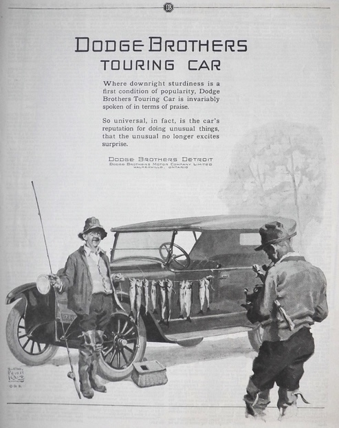 1924 Dodge Brothers Touring Car Ad ~ Guy Caught Lots of Fish