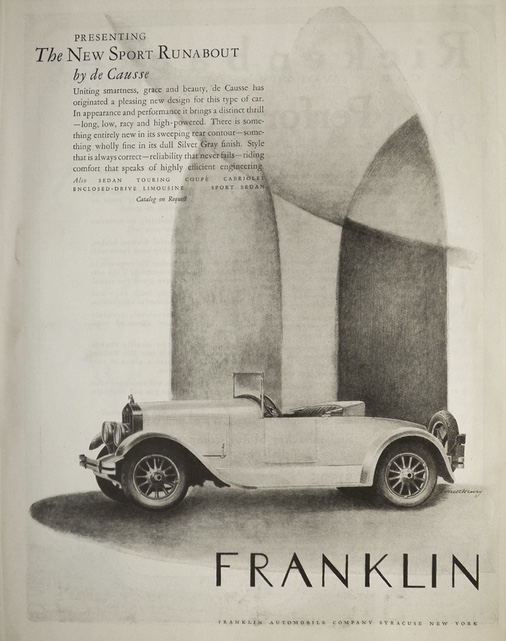 1925 Franklin Sport Runabout Ad ~ by de Causse