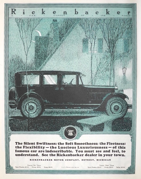 1924 Rickenbacker Car Ad ~ Silent Swiftness